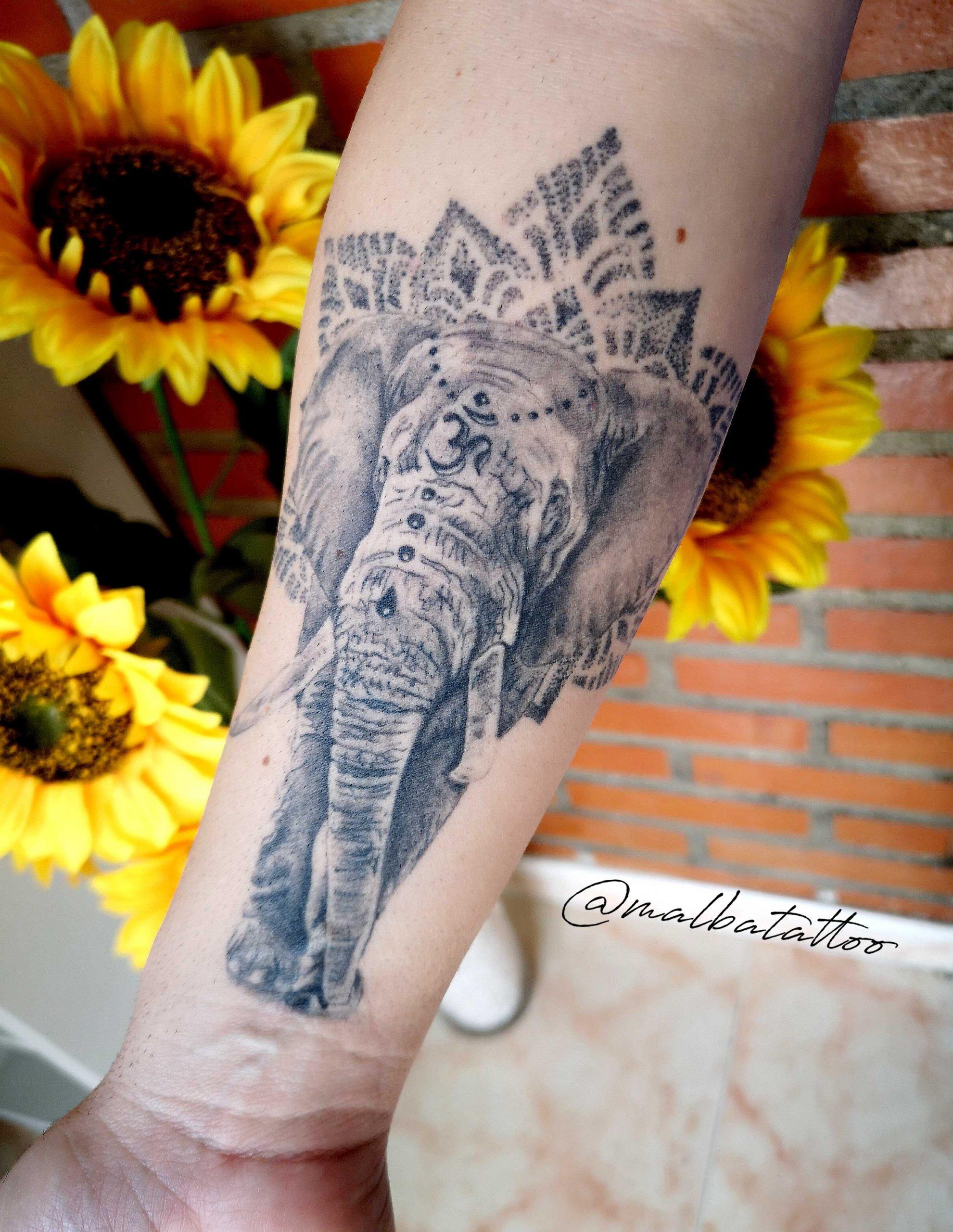 tatuaje elefante antebrazo