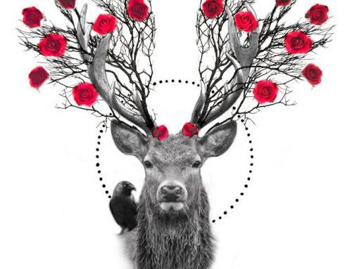 Diseño ciervo con rosas