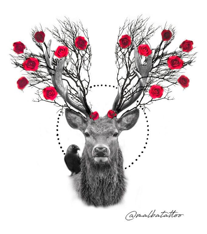 Ciervo con rosas